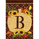 """B"" Pumpkin Monogram Dura Soft™ Flag"