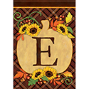 """E"" Pumpkin Monogram Dura Soft™ Flag"