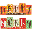 """Merry Christmas"" and ""Happy Thanksgiving"" Reversible Table Décor"